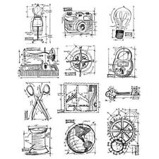 "Stamper's Anonymous Tim Holtz ""Mini Blueprints 3"" Cling Stamps"