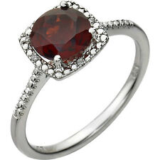 GARNET and Diamond Accented Sterling Silver Ring JANUARY Birthstone Jewelry