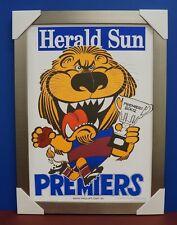 Brisbane Lions 2002 Premiers Herald Sun WEG Print SILVER Frame Brown Lynch