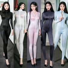 Women Sexy Elastic & Soft Bodysuit Shiny Leotard 2-Way Zipper Jumpsuit Clubwear
