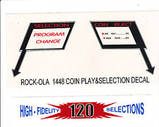 3 ROCK-OLA ROCKOLA  JUKEBOX 1448 DECALS GLASS AND MECHANISM SHROUD