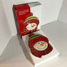 Fitz and Floyd Gourmet Holiday Folk Canape Plate Nib Christmas Snowman