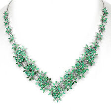 195 CTS!! REGAL!! NATURAL AAA TRANSLUCENT BRAZILIAN EMERALD 925 SILVER NECKLACE