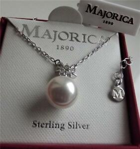 MAJORICA WHITE PEARL & CZ STERLING SILVER WEDDING NECKLACE 42cm +4cm BNWT BOXED