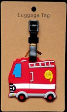 "4X2."" FIRE TRUCK engine firefighter fireman suitcase Travel Baggage LUGGAGE TAG"