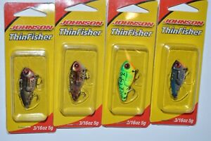 4 lures johnson thinfisher blade bait vibrating action 3/16oz assortment