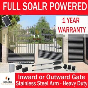 Full Solar Powered Automatic Electric Double Swing Gate Motor Opener 30W Solar