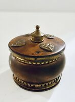 Beautiful Vintage Ornate Brass Trinket Sindoor Pill Box w Wood Lid Made In India