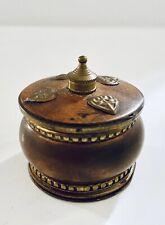 Beautiful Vintage Ornate Brass Trinket Sindoor Pill Box w Wood Lid Made In India