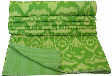NEW GREEN IKAT INDIAN KANTHA COTTON QUILT/COUCH THROW REVERSIBLE BLANKET GUDARI