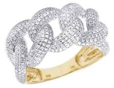 Men's 14K Yellow Gold Genuine Diamond Miami Cuban Iced Out Band Ring 1 CT 12MM