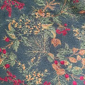 "Vintage ""Winter Impressions"" Cotton Fabric 54"" x 52"" Hoffman Christmas Metallic"