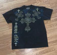 MMA Elite T-Shirt Size Large Blue White Graphics