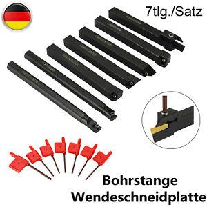 7X Drehmeißel Set 12mm Drehstahl Klemmhalter Bohrstange+ 6 Wendeschneidplatten