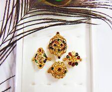 4 Pcs Ring Set  Antique Gold Polish Finger Rings Indian Wedding Fashion Jewelry