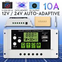 10A 12V/24V PWM Solar Panel Controller Battery Charge Regulator Data  ! #