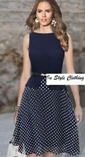 """TAHLIA"" BEAUTIFUL NAVY POLKA DOT SIZE 14 STRETCH DRESS WORK COCKTAIL EVENING"