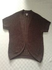 Chico's Women's Cardigan Sweater Open Knit Size 2 (Large) Chocolate Brown L