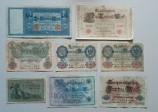 8 Reichsbanknoten 5,10,20,50,100,1000 Mark
