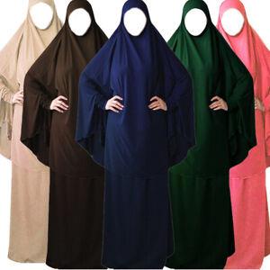 Muslim Hijab Dress Islamic Khimar Abaya Burqa Jilbab Prayer Robe Islamic Costume