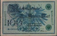 1908 German Empire Kaiser Huge 100 Mark Banknote  GREEN SEAL