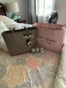 NWT Authentic KATE SPADE owl Little Len star bright tote Leather shoulder grey
