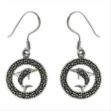 925 Silver & Marcasite Dolphin Circle Earrings
