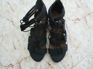 New ARIZONA JEANS Ladies Black Low Wedge Heel Gladiator Sandals size 7 uk - 40 e