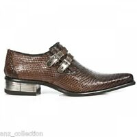 Newrock New Rock 2246 -S32 Brown Snake Skin Leather Buckle West Steel Heel Shoes