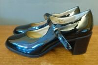 Vtg Retro Clarks Mary Jane Shoes 90s Black Patent Leather 6.5 7 40 EU Daria Box