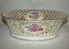 Antique SP Dresden GERMANY Carl Thieme Reticulated Staple Repaired Bowl AS IS