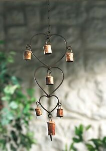 Heart Wind Chime Bell Beads Bronzed Metal Fair Trade Home Indoor Garden New