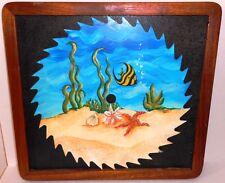 Folk Art Hand Painted Round Saw Blade Sea Ocean Scene Framed Fish Starfish 70s