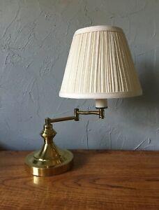 Vintage Brass Lamp Swing Arm Portable Table Desk Shade Underwriters Laboratories