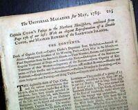CAPTAIN JAMES COOK'S Third Voyage - Hawaiian Islands w/ Print 1785 Magazine