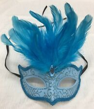 Blue Glitter Face Eye Mask with Feathers Fancy Dress Venetian Masquerade Ball