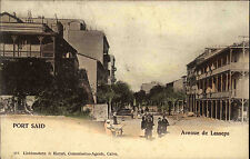 Port Said Egypte Ägypten ~1900/10 Avenue de Lesseps Vintage Postcard Postkarte
