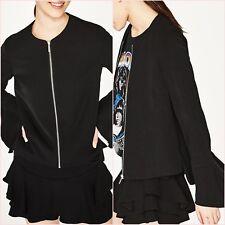 Zara Black Light Thin Flowing Frilled Crepe Jacket Size M UK 10 US 6 Blogger ❤