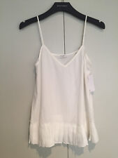 NWT EQUIPMENT 'Layla' Silk Pleated Hem Cami / Tank, Bright White, Small