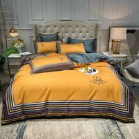 100% Cotton Bedding Set Duvet Cover Flat Sheet Bed Linen Pillowcase Bed Set 4PCS