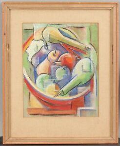 Vintage WINSLOW ANDERSON Fauvist Cubist Modern Pastel Fruit Still Life Drawing