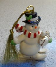 Lenox Porcelain Snowman On Skis With Present Christmas Ornament