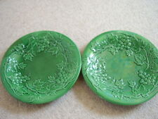 Antique early Wedgwood England Jade Green Majolica grapes Leaf plate,set of 2.