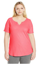 NWT Just  My Size 2X Cotton Blend S/S Split Neck Tee Top Neon Pink