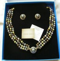 HEIDI DAUS SPARKLING TRADITIONS PISTACHIO GREEN FAUX PEARL NECKLACE EARRINGS NEW