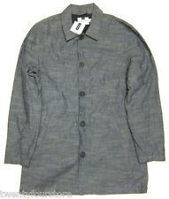 NWT Topman by Topshop Grey Chambray Mac 3/4 Length Jacket sz M