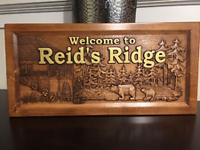 Wood Carved Personalized Mountain Home And Cabin Sign With Bears.