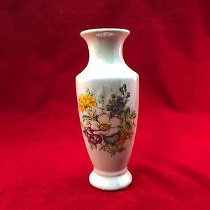 "Vintage Taiwan ROC Handpainted Floral Ceramic White Large Handled URN Vase 5"""