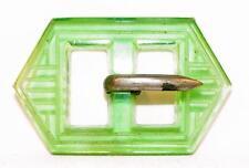 Art Deco Belt Buckle Green Pressed Glass Vintage #5 A Beauty
