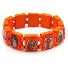Stretch Orange Wooden Saints Bracelet / Jesus Bracelet / All Saints Bracelet - U